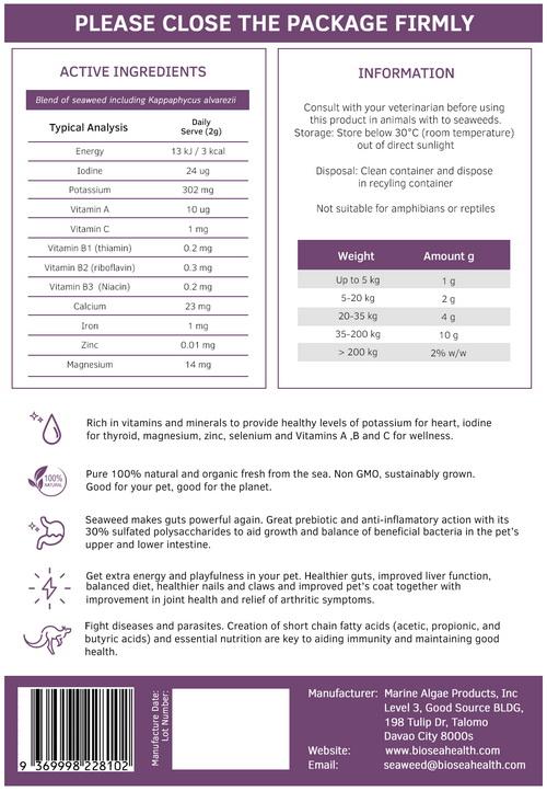 Biosea Pet 250g nutrition